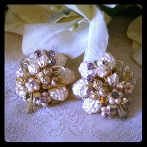 Vintage Faux Baroque Pearl & Rhinestone Earrings